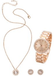 Horloge, ketting en oorbellen (4-dlg. set), bpc bonprix collection