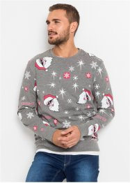 Sweater met kerstprint, slim fit, RAINBOW