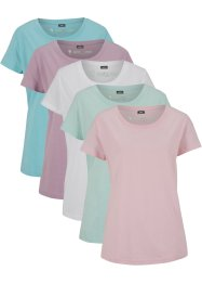 Shirt met ronde hals (set van 5), korte mouw, bpc bonprix collection
