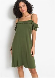 Jersey cold shoulder jurk met volants, BODYFLIRT