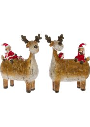 Ornament rendier met kerstman (set van 2), bpc living bonprix collection
