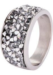 Edelstalen ring met Swarovski® kristallen, bpc bonprix collection