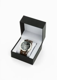Heren chronograaf met leren bandje, bpc bonprix collection