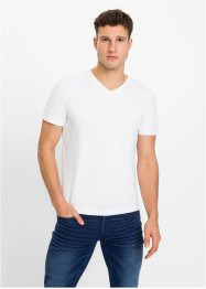 Stretch T-shirt met V-hals (set van 2), slim fit, RAINBOW
