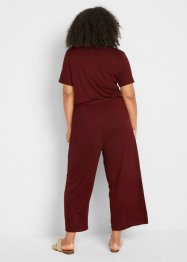 Jersey jumpsuit met V-hals, korte mouw, bpc bonprix collection