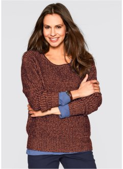 Trui, bpc bonprix collection, cognac/wolwit