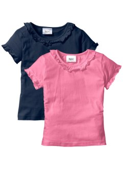T-shirt (set van 2), bpc bonprix collection, donkerblauw+knalroze