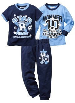 Shirt+T-shirt+sweatbroek (3-dlg. set), bpc bonprix collection, middenblauw/donkerblauw