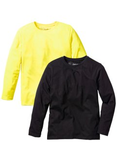 Longsleeve (set van 2), bpc bonprix collection, neongeel+zwart