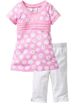 Longshirt+caprilegging (2-dlg. set), bpc bonprix collection, roze gebloemd