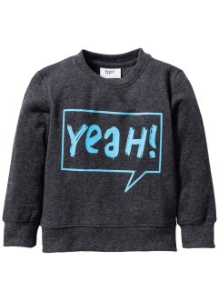 Sweatshirt, bpc bonprix collection, antraciet gemêleerd/turkoois met print