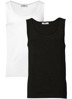 Singlet (set van 2), bpc bonprix collection, zwart+wit