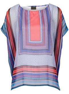 Blouse, RAINBOW, rood/royalblauw/wit/zwart gedessineerd