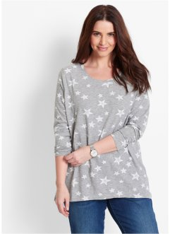 Longsleeve, bpc bonprix collection, lichtgrijs gemêleerd/wit