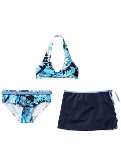 Bikini+rok (3-dlg. set), bpc bonprix collection, blauw/wit batik