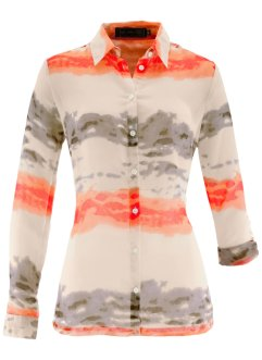 Blouse, bpc selection, wit/nectarine gedessineerd