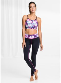 Sporttop+legging, bpc bonprix collection, zwart gedessineerd