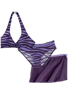 Bikini+rok (3-dlg. set), bpc bonprix collection, donkerpaars/lichtpaars zebraprint