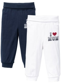 Babybroek (set van 2), bpc bonprix collection, donkerblauw/wit