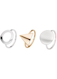 Ring (3-dlg. set), bpc bonprix collection, goudkleur/zilverkleur