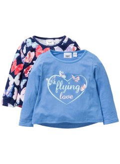 Longsleeve (set van 2), bpc bonprix collection, middernachtblauw+middenblauw