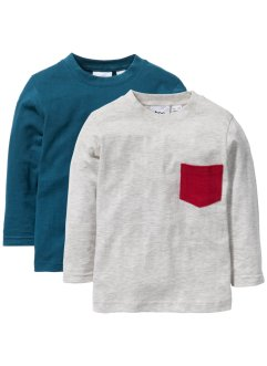 Longsleeve (set van 2), bpc bonprix collection, blauwpetrol+ecru gemêleerd