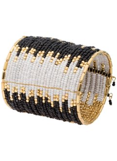 Armband, bpc bonprix collection, zwart/wit/goudkleur