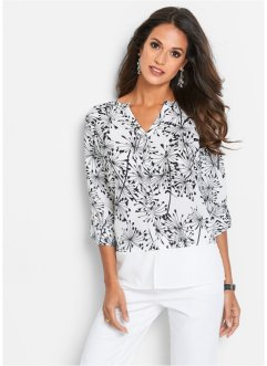 Blouse, bpc selection, wit/zwart gedessineerd