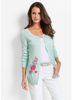 Gebreid vest, bpc selection, pastelmint/multicolor met print