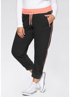 Joggingbroek, bpc bonprix collection, zwart/neonzalmkleur