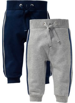 Sweatbroek (set van 2), bpc bonprix collection, lichtgrijs gemêleerd+donkerblauw