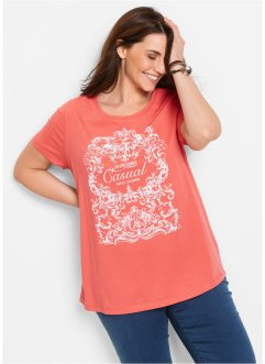 Shirt, bpc bonprix collection, koraal met print