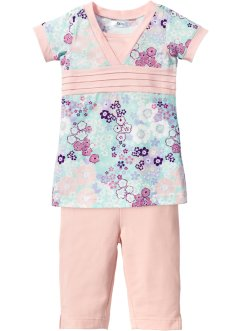 Longshirt+caprilegging (2-dlg. set), bpc bonprix collection, pastelmint/viooltjeslila gebloemd
