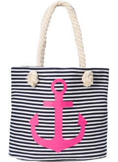 Strandshopper, bpc bonprix collection, donkerblauw/pink/wit