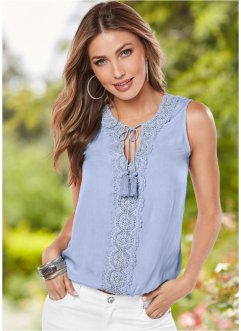 Blouse, BODYFLIRT boutique, blue bleached