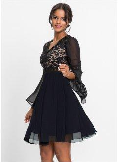 korte zwarte jurk met lange mouwen