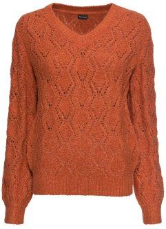 Modieuze trui van ajour met een V hals saffraangeel