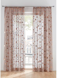 Transparant gordijn met glanzende print (1 stuk), bpc living bonprix collection