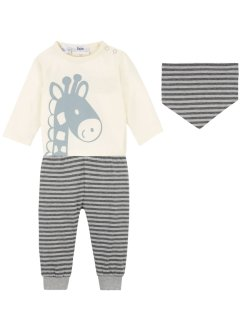 Babyshirt, broek en sjaaltje (3-dlg. set), bpc bonprix collection