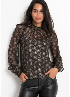 Mesh shirt met folieprint, BODYFLIRT