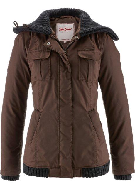 Trendy Winterjas.Warm Gevoerde Winterjas Met Trendy Gebreide Details Donkerbruin