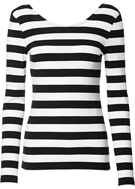 Fabulous Modieus longsleeve-shirt met uitsparing achter - zwart/wit gestreept #GL83