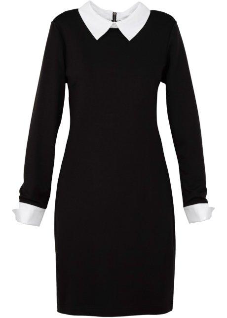 Bedwelming Vrouwelijke retro-jurk met kraag en manchetten - zwart @MV45