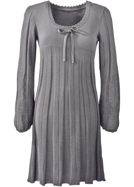 ec62e6ecf901fb Gebreide jurk met ronde hals - grijs gemêleerd
