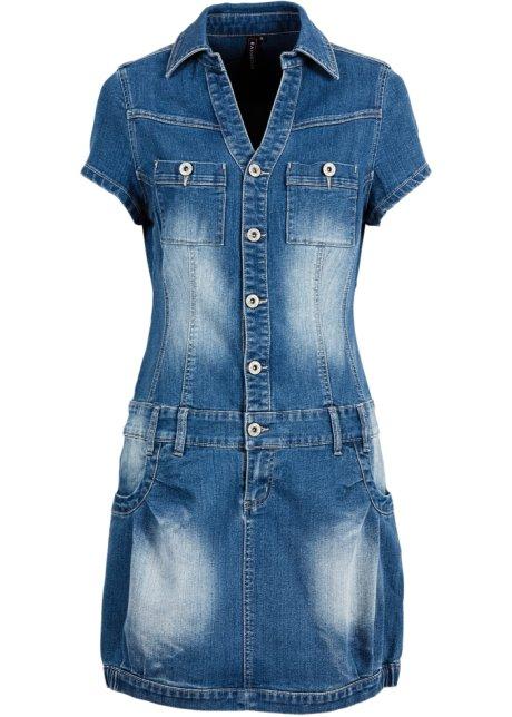 7eb3ae6728762a Modieuze jeansjurk met knoopsluiting en borstzakken - blue stone