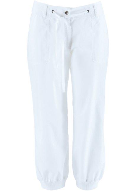 Verwonderlijk Comfortabel geknipte linnen broek in 3/4-lengte met ribboorden - wit LD-74