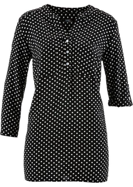 Zwart wit gestippelde blouse