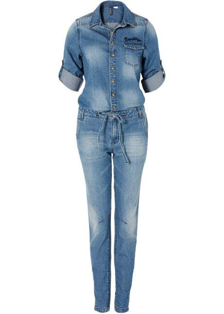 Nieuw Trendy jeans-jumpsuit in used-look, met rijgkoord - blue bleached TI-63