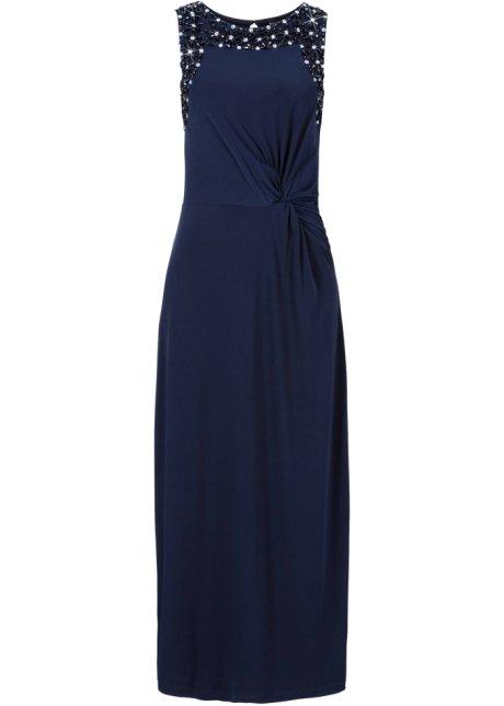 e7d4fe49721ca0 Met steentjes gegarneerde maxi jurk in knoop-look - donkerblauw