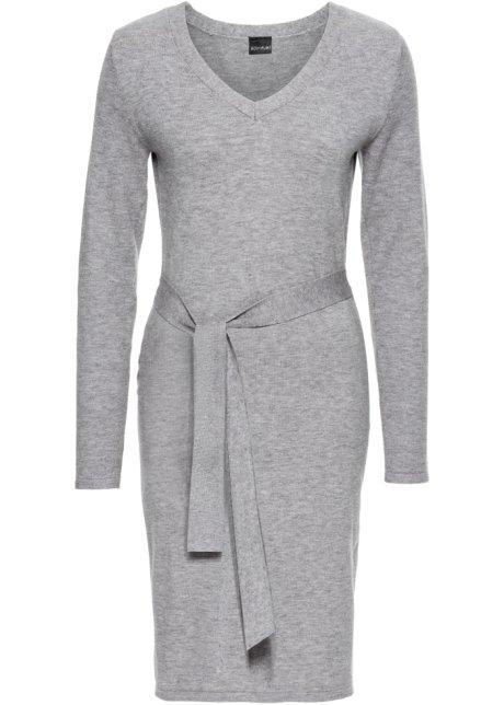 gebreide jurk grijs